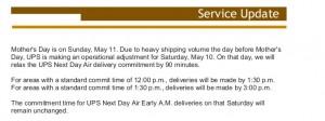 UPS Service Update