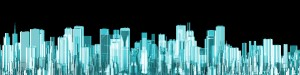 Hologram city panorama / 3D render of glowing holographic view of modern city